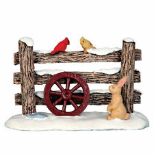 LEMAX CHRISTMAS VILLAGE HOUSE ACCESSORIES - RUSTIC WOOD FENCE W/ BIRD & RABBIT