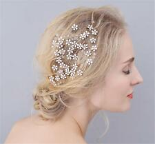 Floral Rhinestone Headdress Bridal Hair Comb Gold Crystal Wedding Prom Headpiece