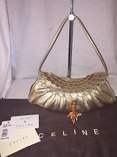 Celine Gold Small Chouquette Leather Handbag Scalloped Flap with Fish Charm