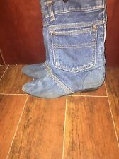 Vtg Blue Denim Boots Jean Pocket Western cowboy leather soles By Soho 8
