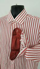 Mens Bristol & Bull Button Front Shirt Large 16-16 1/2 34/35 Large Pre-owned Red