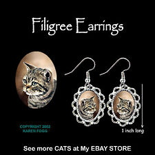 TABBY AMERICAN SHORTHAIR Striped Cat - SILVER FILIGREE EARRINGS Jewelry
