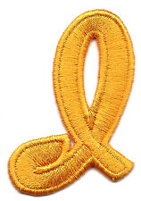 "SCRIPT LETTERS - Golden Yellow Script  2"" Letter ""I"" - Iron On Embroidered Patch"
