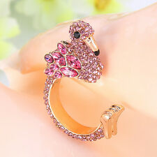 AIMO Flamingo Animal Bird Ring Pink Austrian Crystal Gold GP Unisex Size 7
