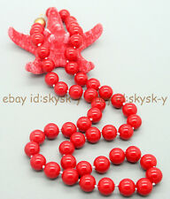 """AA Genuine 8mm Natural Coral Red South Sea Shell Pearl Necklace 18"""""""