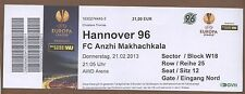 Orig.Ticket     Europa League 12/13    HANNOVER 96 - ANZHI MAKHACHKALA  !!