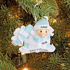 Baby Boy In Present Baby's First Christmas Personalized Christmas Tree Ornament