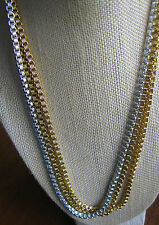 FANTASTIC Gold & Silver Tone Multi Strand Box Chain Necklace Bicolor Two Vintage
