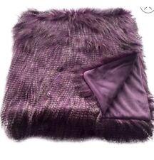 Threshold Faux Ostrich Fur Throw Blanket Purple New