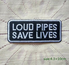Loud Pipes Save Lives Iron On Cloth Patch Safety Saying Biker Vest Motorcycle