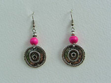 GORGEOUS DARK SILVER PLATED COINS DEEP PINK WOOD EARRINGS TRIBAL Hook earwires