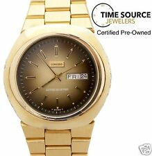 Vintage Concord Chronometer Automatic Day Date Gold Plated Brown Dial Watch