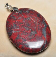"""Extremely Red Natural Bloodstone 925 Sterling Silver Clasp 2"""" Pendant #P12143"""