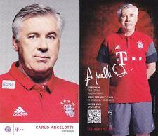 Carlo Ancelotti + FC Bayern München + Saison 2016/2017 + Autogrammkarte + AK57 +