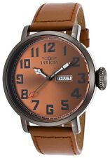New Mens Invicta 18434 45mm Vintage Day Date Brown Leather Strap Watch