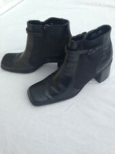 Leather Ankle Boots / Booties Black Women's Size 8.5M Side Zippers Nicole