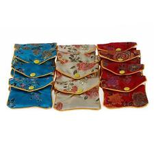 Lots 12pcs Cloth Embroider Jewelry Pouch Bag Multi Color Gift Wholesale Jewellry