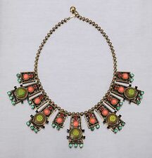 VTG 70S JULIANA D&E GOLD GREEN MOROCCAN MATRIX CORAL TURQUOISE CABOCHON NECKLACE