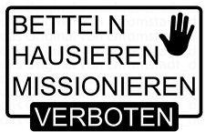 Verbot Aufkleber Betteln Hausieren Missionieren verboten Briefkasten 10x6,4cm