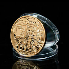 1x Gold Plated Bitcoin Coin - collectible gift -In Stock BTC Coin Art Collection
