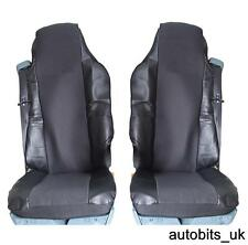 BLACK LEATHERETTE & PREMIUM FABRIC TAILORED SEAT COVERS FOR VOLVO FH16 FH FL FE