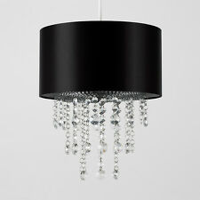 MiniSun Cylinder Ceiling Light Pendant Shade Fabric Lampshade Acrylic Droplets