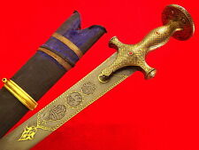 Rare Mogul Indian Shamshir Sword w/ Persian Wootz Damascus Blade & Ruby Set Hilt