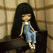 "12""Neo Blythe Doll Black Hair Joint Body Transparent skinNude Doll from Factory"