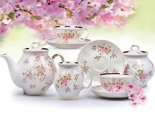 Russian Porcelain Tea set Dulevo Blossoms 6 pers 15 pc Kuznetsov Porcelain