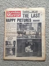 Sunday Mirror newspaper 24th November 1963. JFK. President Kennedy.