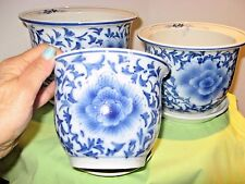 Matching Set 3Ceramic Planters Blue White Flower Containers Garden Plant Pottery
