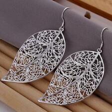 925 Sterling Silver filled earrings Leaf ear drop jewelry Christmas gift E128