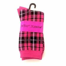 BETSEY JOHNSON Casual Socks, Ladies SZ 9-11 Mad About Plaid Sock Pink NEW