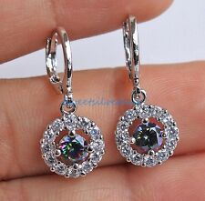 18K White Gold Filled - Circle Hollow MYSTICAL Topaz Cocktail Earrings Crystal
