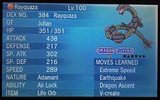 Brillante 6IV EV Entrenado categórico V-crear Rayquaza Pokémon ORAS X/Y + artículo gratuito