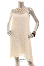 NEW BCBG ENERATION Women Spaghetti Strap Eyelet Lace Shift Dress Cream Size S