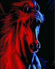 "New DIY Acrylic Paint By Number 16X20"" kit Oil Painting On Canvas Horse"