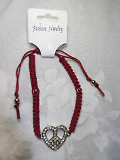 BRAND NEW WOVEN RED BRACELET WITH GOLD PLATED DIAMONTE HEART