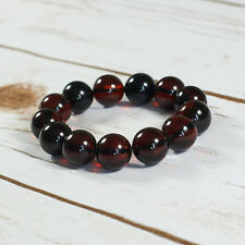 Genuine Baltic Amber Bracelet Unique Dark Cognac Cherry Beaded Balls Beads