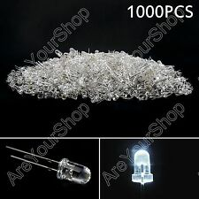 1000Pcs 5mm Blanco Color Water Clear LED Luz Round Top Diodo Emisor Lámpara F3