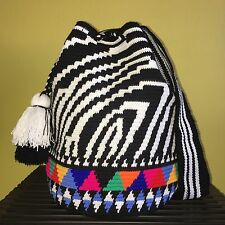Luxury Edition Zebra Handmade Colombian Wayuu Mochila Shoulder Crossbody Bag