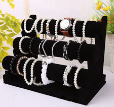 New 3 Tier Black Velvet Jewelry Bracelet Watch Show Display Rack Holder Stand TE
