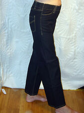 BNWT MONDI WOMENS BOOT CUT CONTRAST STITCH ELASTICATED PULL ON BLACK JEANS sz 12