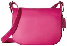 NWT COACH $395 CERISE PINK GLOVE TANNED LEATHER SADDLE CROSSBODY  BAG