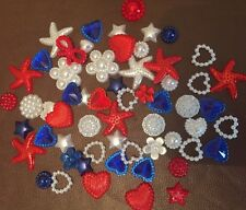 A Mixture Of 50 Pieces Of Small Red, White & Blue Flatback Resin for any crafts
