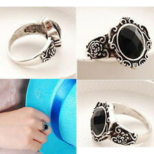 Women Popular Vintage Simple Black Crystal Ring Retro Rhinestone Ring EFU