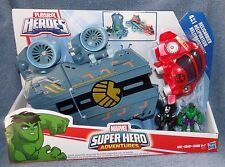 PLAYSKOOL MARVEL SUPER HEROES ADVENTURES HELICARRIER SET WITH WAR MACHINE & HULK