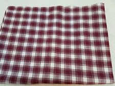Burgundy Plaid  Polyester Cotton Linen Fabric   23 inches wide   1 yard