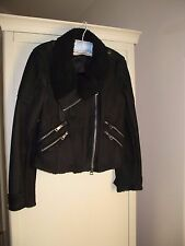 Burberry Brit Women's Shearling Leather Biker Jacket with Original Tags