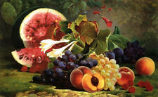 Nice Oil painting William Mason Brown - The Bounties of Nature Watermelon fruits